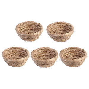 5-Piece Durable Natural Rustic Decorative Straw Weave Bird Nest For Coffee Shop Decor Crafts Home Decor Breeding Pet Supplies