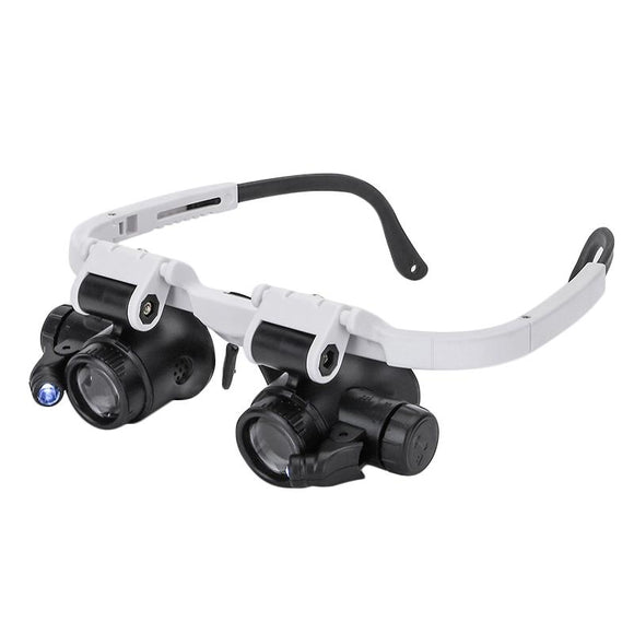 Double Eye Lupe Magnifying Glass LED Light