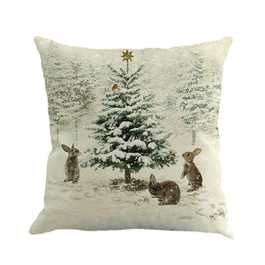 Christmas Gift Printing Linen Pillow Cover