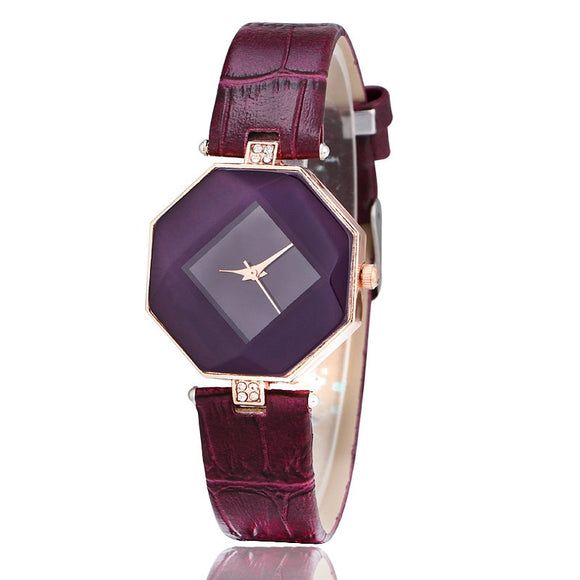 Purple Leather Watchband Watches