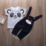 Bear Short Sleeve Striped T-shirt