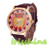 Owl Pattern Leather Watch