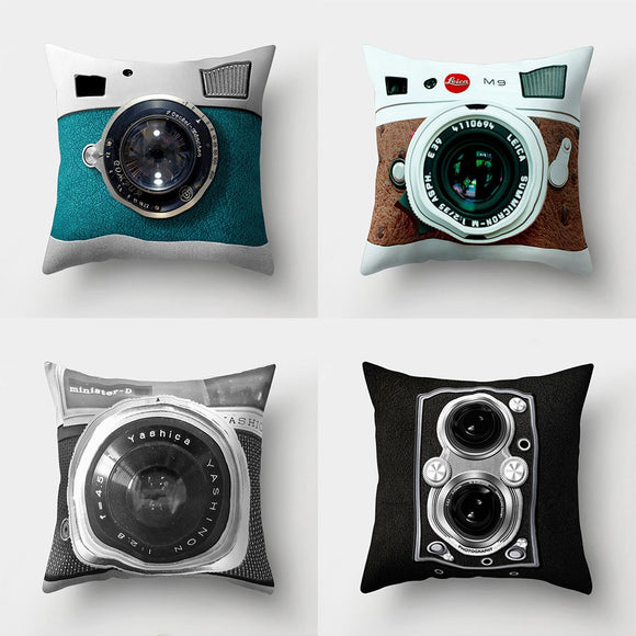 Modern Camera Print Pillow Case Cover
