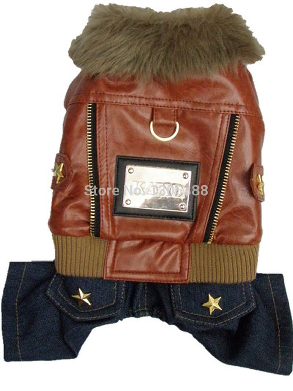 Leather Punk Style Pet Jacket