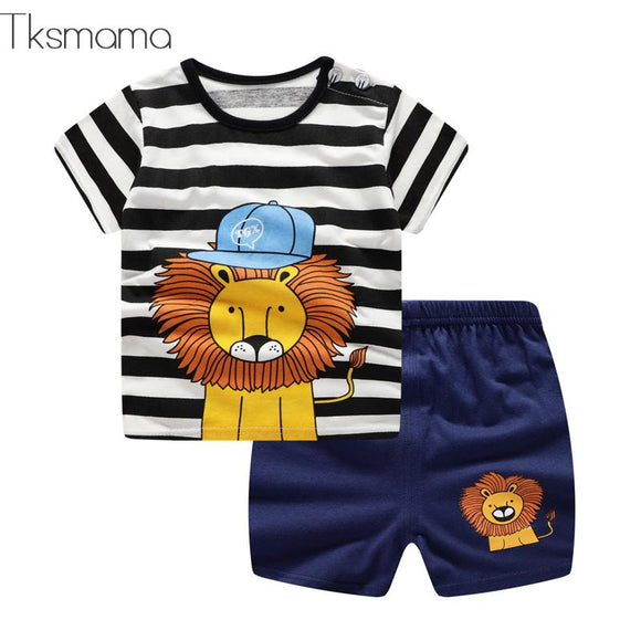 Lion Print Short Sleeve T-shirt + Shorts