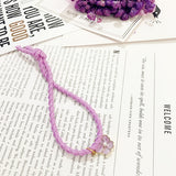 Purple Pearl Ball Elastic Ring