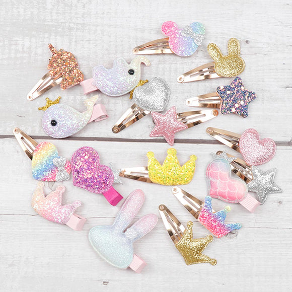 Cartoon Glitter Hair Clips