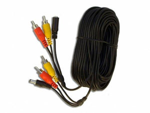 20 Metre 3 Way Cable with Power, Audio, Video RCA Connectors