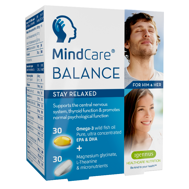 MindCare BALANCE stay relaxed - stress relief capsules with omega-3, magnesium glycinate, L-Theanine & multivitamins