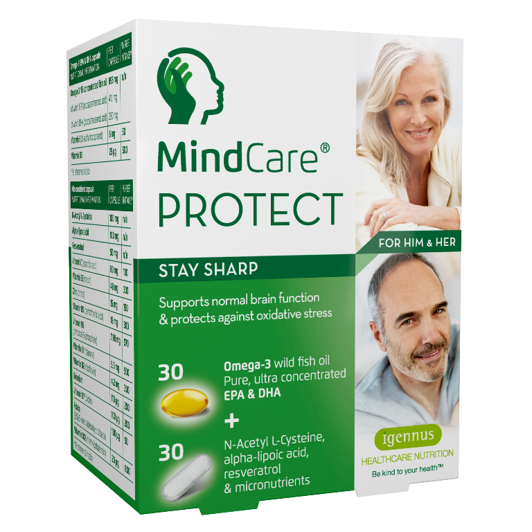 MindCare PROTECT - stay sharp | omega-3 wild fish oil, N-Acetyl L-Cysteine, alpha-lipoic acid, resveratrol and multivitamins