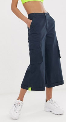 Navy culottes with neon tab detail from Asos