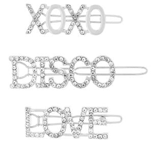 Disco Slogan Diamante Hair Clips from Accessorize