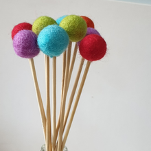 Load image into Gallery viewer, Rainbow Pom Pom Flowers, Felt Ball Bouquet Room Decor