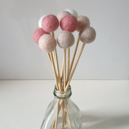 Blush Pom Pom Flowers, Felt Ball Bouquet Room Decor