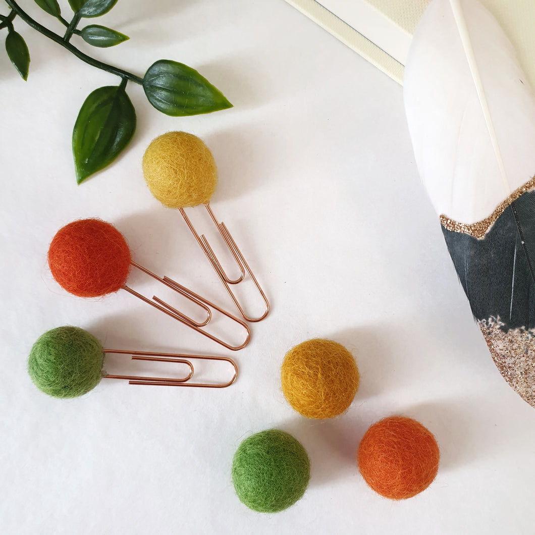 Autumn Pom Pom Paperclips - Felt Ball Stationary Bookmarks