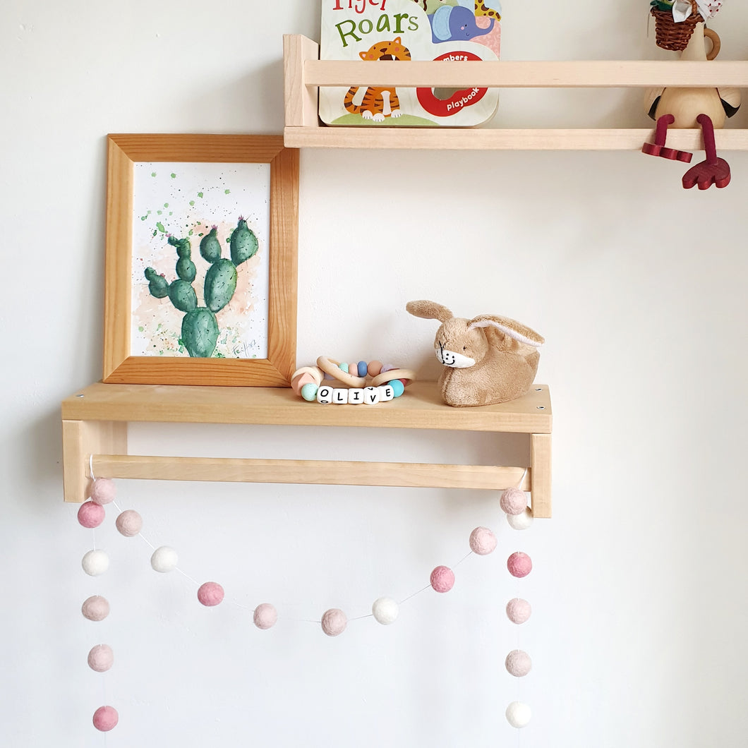 Blush Pom Pom Garland - Felt Ball Nursery Decor