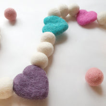Load image into Gallery viewer, Candy Heart Pom Pom Garland - Felt Ball Nursery Decor