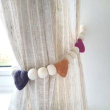 Load image into Gallery viewer, Candy Hearts Curtain Felt Ball Pom Pom Tie Backs