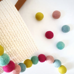 Candy Rainbow Pom Pom Garland - Felt Ball Nursery Decor
