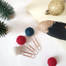 Load image into Gallery viewer, Christmas Pom Pom Paperclips - Felt Ball Stationary Bookmarks
