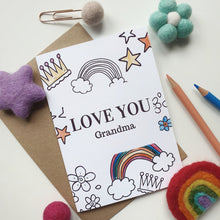 Load image into Gallery viewer, Colour Me In Personalised Mothers Day Rainbow Crown Design - A6 Greeting Card