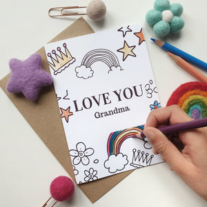 Colour Me In Personalised Mothers Day Rainbow Crown Design - A6 Greeting Card