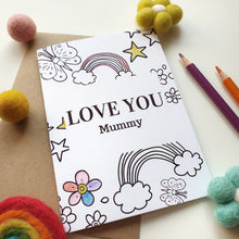Load image into Gallery viewer, Colour Me In Personalised Mothers Day Rainbow Butterfly Design - A6 Greeting Card
