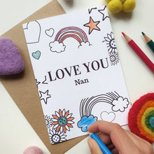 Load image into Gallery viewer, Colour Me In Personalised Mothers Day Rainbow Hearts Design - A6 Greeting Card