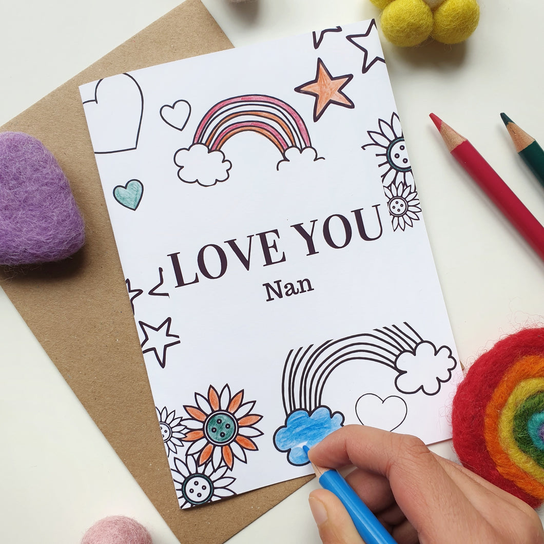 Colour Me In Personalised Mothers Day Rainbow Hearts Design - A6 Greeting Card