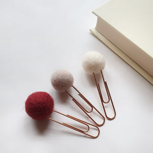 Cupid Pom Pom Paperclips - Felt Ball Stationary Bookmarks