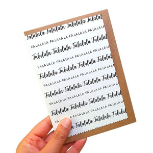 Falala - A6 Monochrome Typo Greeting Card