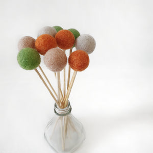 Fall Pom Pom Flowers, Felt Ball Bouquet Room Decor