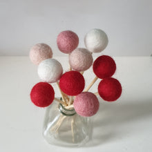 Load image into Gallery viewer, Hearts Pom Pom Flowers, Felt Ball Bouquet Room Decor