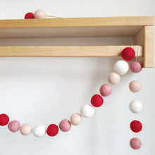 Load image into Gallery viewer, Heart Pom Pom Garland - Felt Ball Nursery Decor