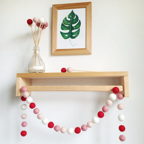Heart Pom Pom Garland - Felt Ball Nursery Decor