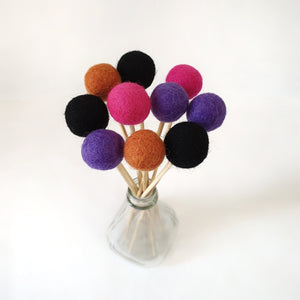 Hex Pom Pom Flowers, Felt Ball Bouquet Room Decor