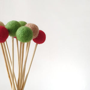 Holly Pom Pom Flowers, Felt Ball Bouquet Room Decor