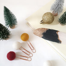 Load image into Gallery viewer, Merry Pom Pom Paperclips - Felt Ball Stationary Bookmarks
