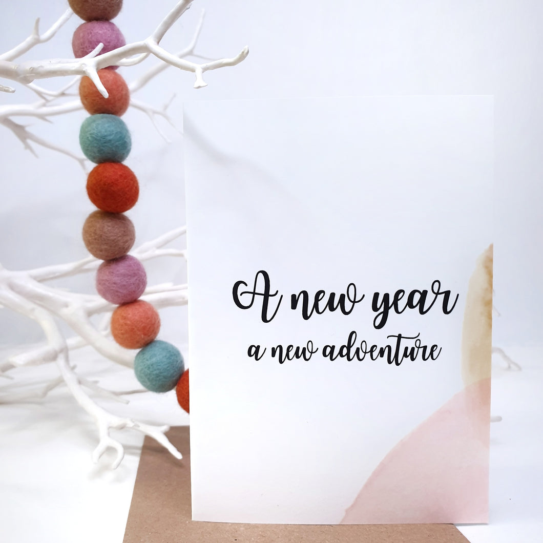 A New Year A New Adventure - A6 Monochrome Typo Water Paint Greeting Card