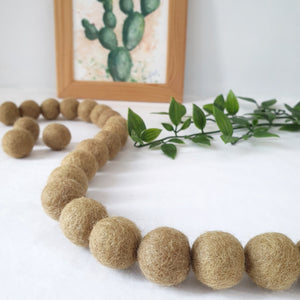 Olive Pom Pom Garland - Felt Ball Nursery Decor