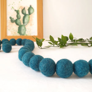 Peacock Pom Pom Garland - Felt Ball Nursery Decor