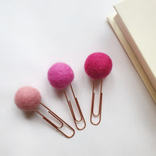 Load image into Gallery viewer, Pink Candy Pom Pom Paperclips - Felt Ball Stationary Bookmarks