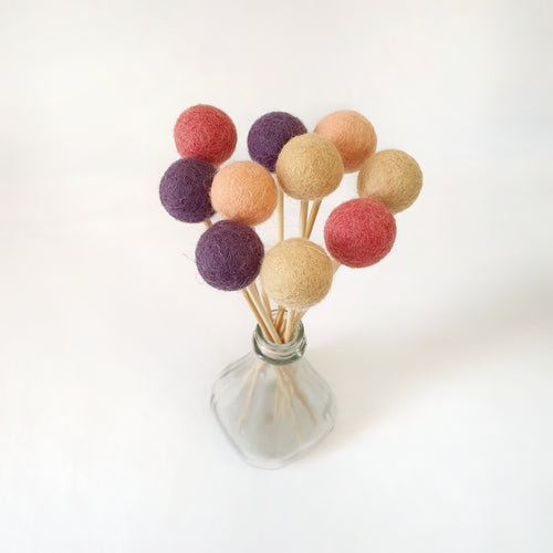 Plum Pom Pom Flowers, Felt Ball Bouquet Room Decor