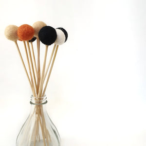 Pumpkin Pom Pom Flowers, Felt Ball Bouquet Room Decor