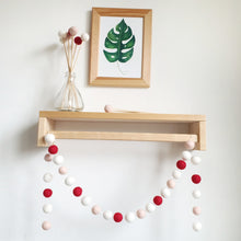Load image into Gallery viewer, Red and Blush Pom Pom Garland - Felt Ball Nursery Decor