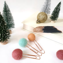 Load image into Gallery viewer, Wonderland Pom Pom Paperclips - Felt Ball Stationary Bookmarks
