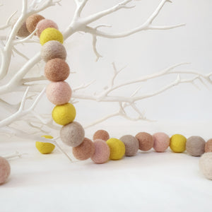 Daffodil Pom Pom Garland - Felt Ball Nursery Decor
