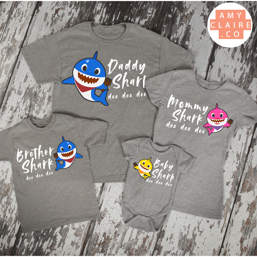 b8e38b0f7 Baby Shark doo doo doo Family matching grey t-shirts! - Mommy, Daddy ...
