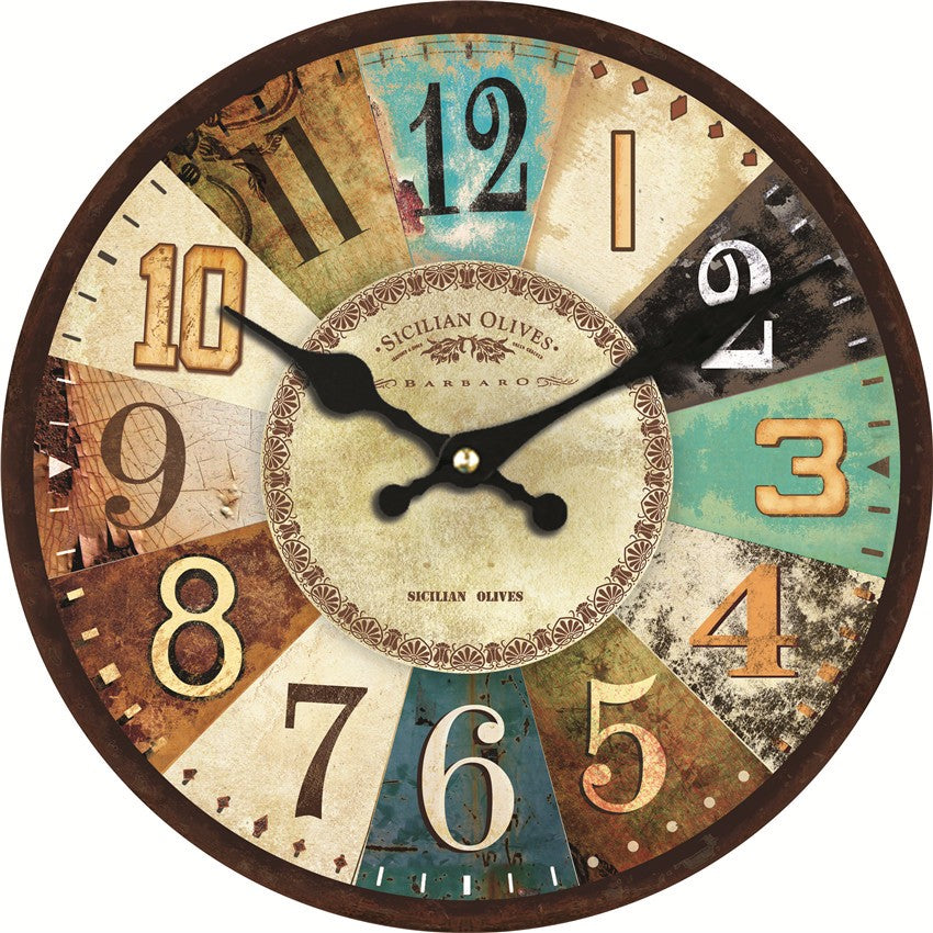 ANCIEN Colorful Design Classic Retro Wall Clock Silent Living Room ...