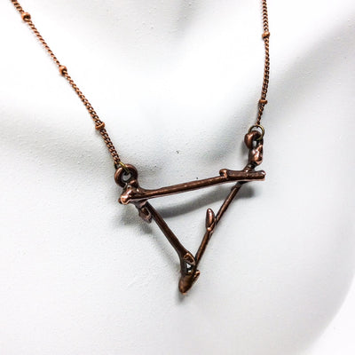 0025 Vintage Copper Birch Twig Necklace